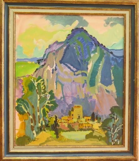 Pierre GRISOT - Painting - VILLAGE EN MONTAGNE