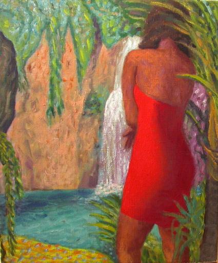 Erhard STÖBE - Pintura - Schönheit vor einem Wasserfall