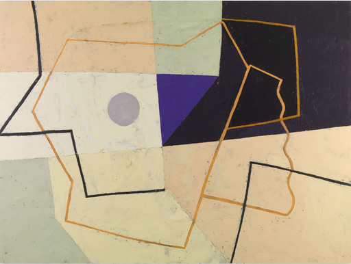 Jeremy ANNEAR - Painting - Linear Construct (Violet Triangle)