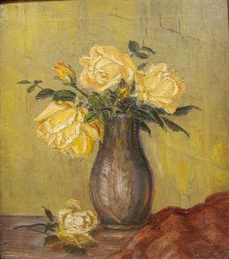 Bruno MARQUARDT - Painting - Stilleben mit gelben Rosen.