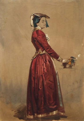 """Franz PITNER - Zeichnung Aquarell - """"Woman from Rome"""" by Franz Pitner"""