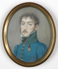 "Karl VON SAAR - Miniature - ""Young officer with a Russian order"" miniature on ivory, 181"