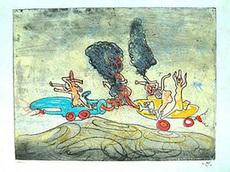 Roberto MATTA - Dibujo Acuarela - LES OH TOMOBILES #10