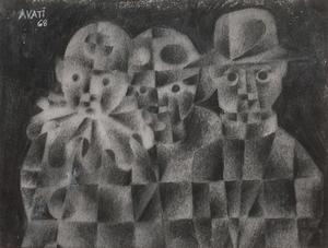 Mario AVATI - Dibujo Acuarela - Trois personnages
