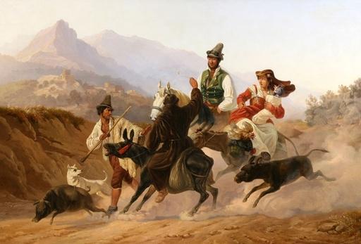 Karl Wilhelm GÖTZLOFF - Pintura - Reisegruppe im Sorrentiner Hinterland