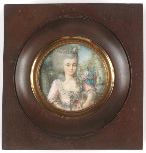 "DUBOURG AUGUSTIN (Attrib.) - Miniatura - ""Portrait of a Lady"", very important miniature on ivory!!, 1"