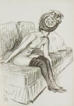 Johannes MARTINI - Dibujo Acuarela - Parisian Girl
