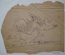 André BEAUDIN - Disegno Acquarello - DESSIN ENCRE SUR PAPIER 1948 SIGNÉ MAIN HANDSIGNED DRAWING