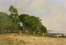 Eugène BOUDIN (1824-1898) - Juan les Pins. La promenade et la baie