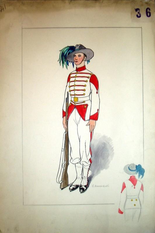 Youri Pavlovitch ANNENKOFF - Disegno Acquarello - Costume design for an officer with a gun