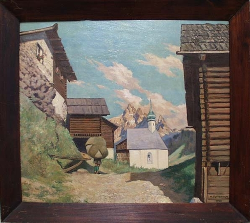 "Maximilian SPILHACZEK - Peinture - ""In Alpine Village"", Oil Painting, 1950"