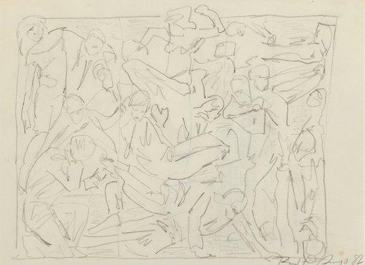 Robert LONGO - Disegno Acquarello - Corporate Wars Walls of Influence - Study