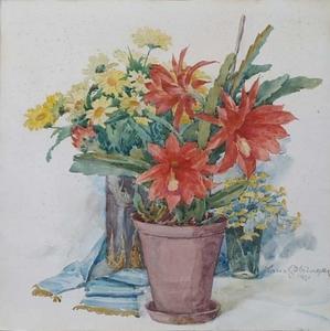 "Hans GÖTZINGER - Zeichnung Aquarell - ""Still Life with Flowers"" by Hans Goetzinger, 1921"