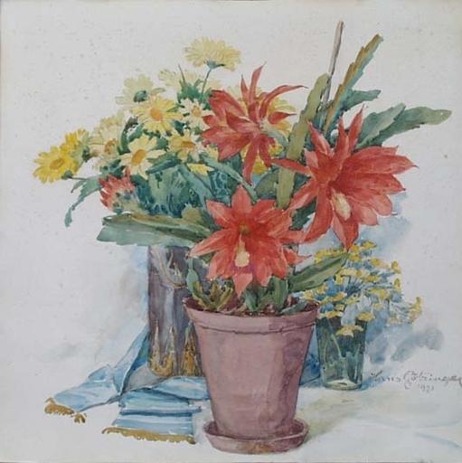 "Hans GÖTZINGER - Dessin-Aquarelle - ""Still Life with Flowers"" by Hans Goetzinger, 1921"