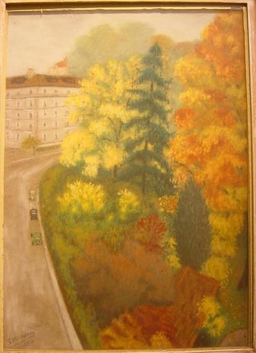 Gabriel DESCHAMPS - Dibujo Acuarela - Parc parisien