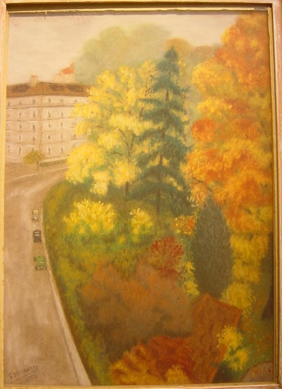 Gabriel DESCHAMPS - Dessin-Aquarelle - Parc parisien