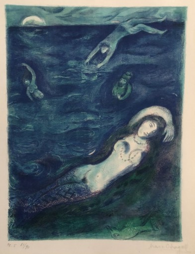 Marc CHAGALL - Estampe-Multiple - Then I came forth of the sea. Plate 5 from Arabian Nights