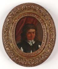 "Bartholomeus VAN DER HELST (Attrib.) - Miniature - ""Portrait of a Youth"", Oil on copper miniature, ca.1650"