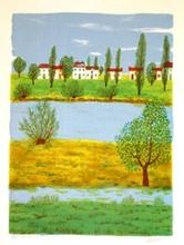 Maurice LOIRAND - Grabado - Red Roofs