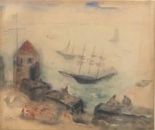 Reuven RUBIN - Pintura - Jaffa Port