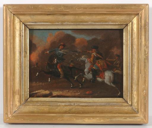 """绘画 - """"Cavalry Skirmish"""", oil on wood, 18th century"""