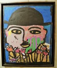 JABER - Painting - l homme au chapeau