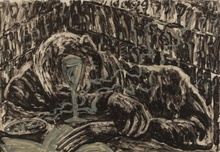 米盖尔·巴塞罗 - 版画 - Homme ivre dans un bar