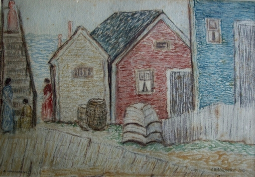 Abraham WALKOWITZ - Drawing-Watercolor - Houses by the Beach with Figuers