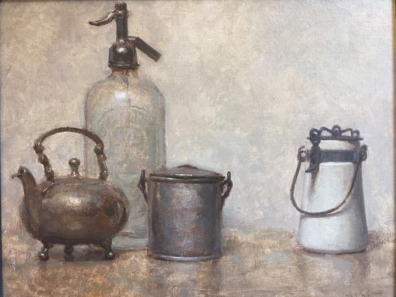 Travis SCHLAHT - Painting - Still life in grey