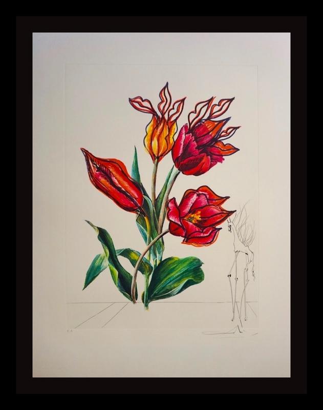 萨尔瓦多·达利 - 版画 - Florals Tulips Girafe en Feu