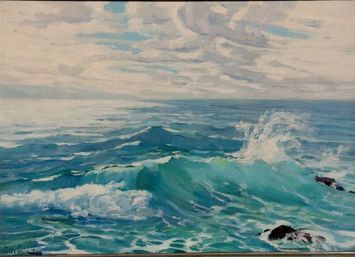 """Raymond URBAIN - Pintura - """"LES VAGUES SUR LES BRISANTS"""""""
