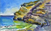 Jean-Pierre CHEVASSUS-AGNES - Drawing-Watercolor - baigneuse à ANDROS CYCLADES GRECE