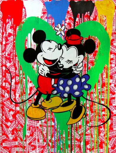 MR BRAINWASH - Painting - Mickey & Minnie (green heart)
