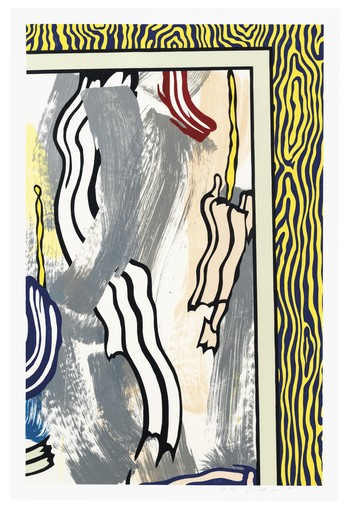 Roy LICHTENSTEIN - Print-Multiple - Painting on Blue and Yellow Wall