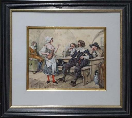 """Carl FISCHER-KÖYSTRAND - Dibujo Acuarela - """"Scene in Tavern"""", Watercolor, 1915"""