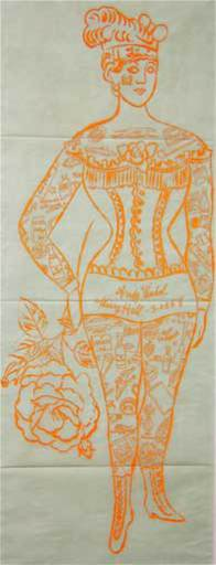 Andy WARHOL - Stampa-Multiplo - Tattoo Woman Holding Rose