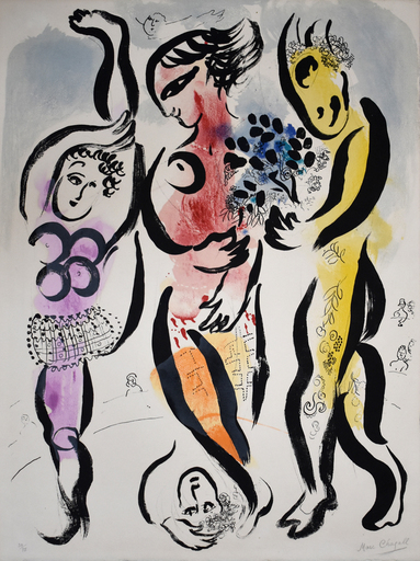 Marc CHAGALL - Stampa Multiplo - The Three Acrobats
