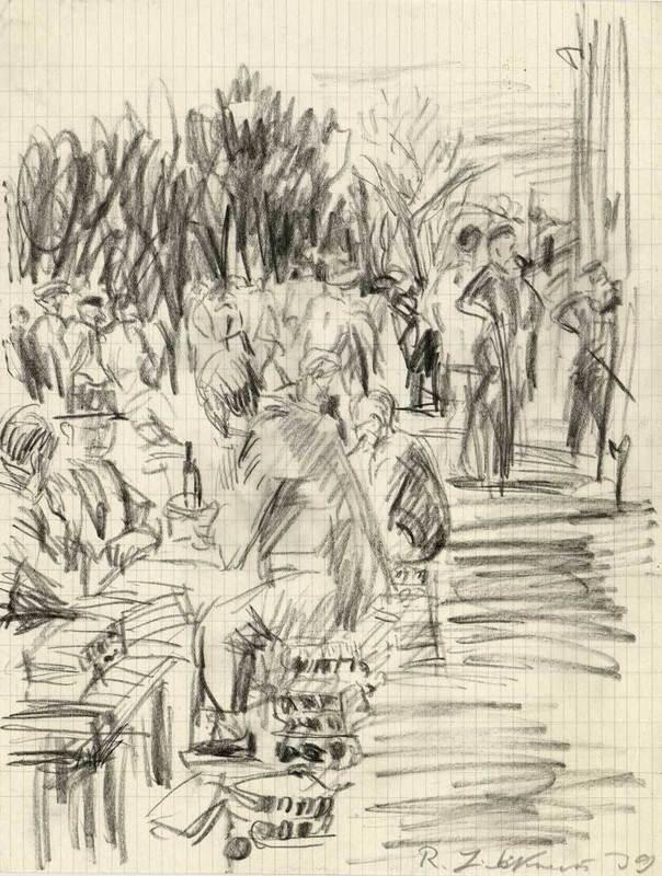 "Robert LIEBKNECHT - Drawing-Watercolor - Im Lager ""Les Milles"""