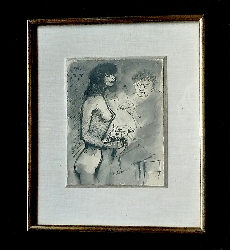Edouard Joseph GOERG - Drawing-Watercolor - Le Peintre et son modèle