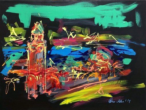 Nicole LEIDENFROST - Gemälde - Landungsbrücken/Nighttime