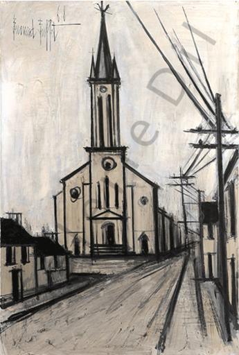 Bernard BUFFET - Painting - L'Eglise d'Ansauville