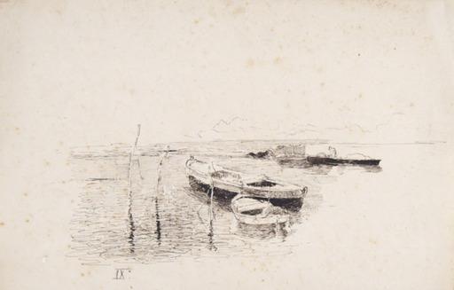 Luigi NONO - Dibujo Acuarela - Barche in Laguna