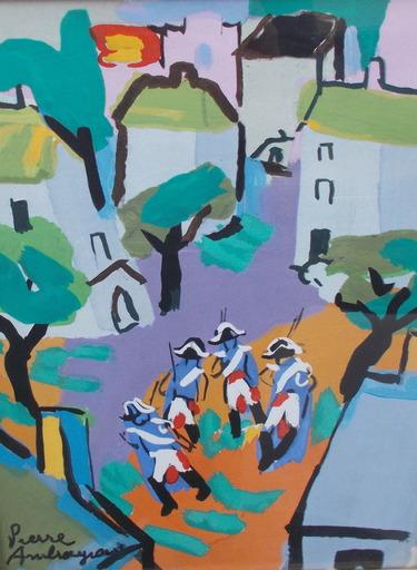 Pierre AMBROGIANI - Zeichnung Aquarell - Les soldats