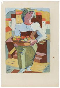 Edmund Daniel KINZINGER - Painting - Italienerin mit Früchtekorb.