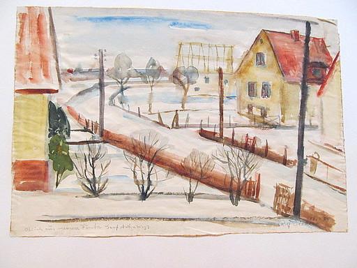 Rolf DIENER - Drawing-Watercolor - Blick aus meinem Fenster