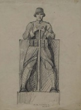 Heinrich Karl SCHOLZ - Drawing-Watercolor - Monument Design, Heinrich Karl Scholz (b.1880)