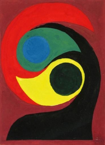 Étienne BEÖTHY - Pintura - Composition on Violet Background