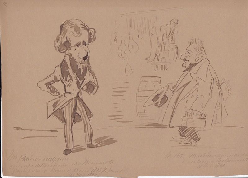Horace VERNET - Dibujo Acuarela - James Pradier et Ferdinando Paer