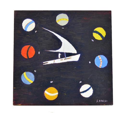 Franco FRIZZI - Pintura - La nave degli Dei