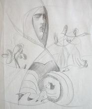 Léopold SURVAGE - Dessin-Aquarelle - Femmes et Paysage / Woman and Landscape